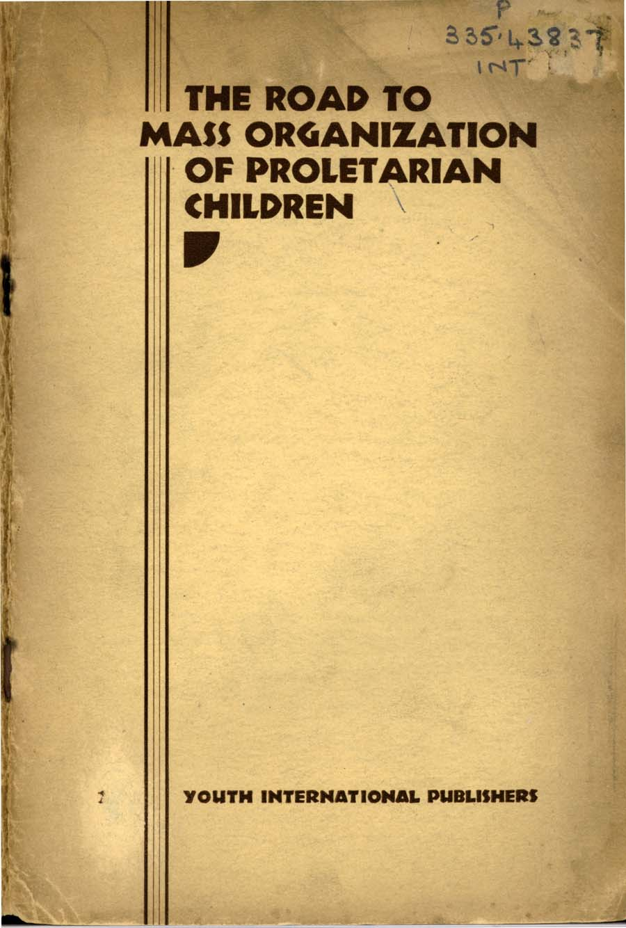 Cover of 'The road to mass organization of proletarian children' 1930.