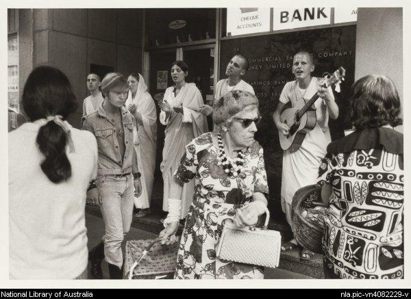 Hare Krishna, Kings Cross, 1970-1971, photo by Rennie Ellis,courtesy National Library of Australia nla.pic-vn4082229